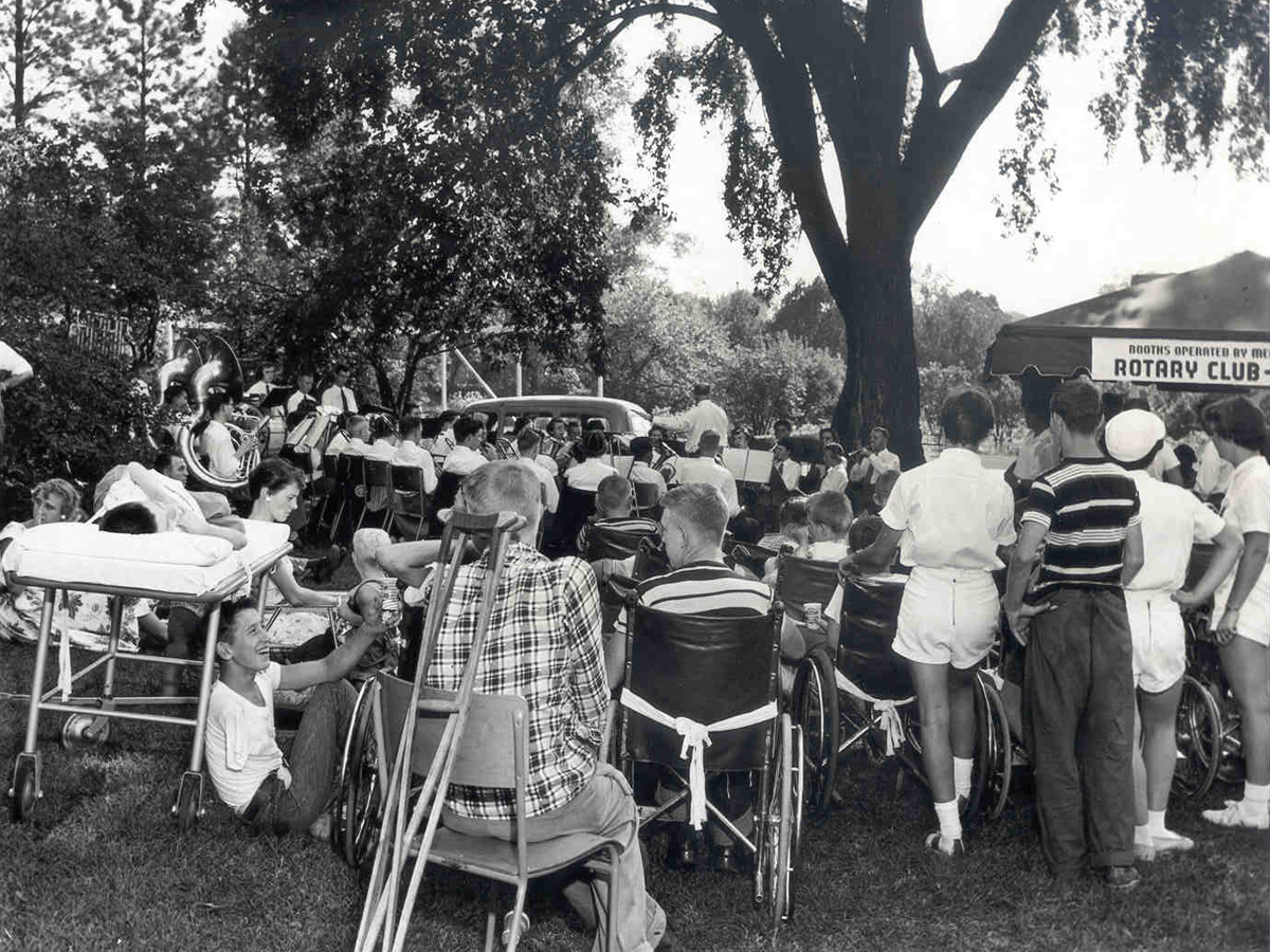 A black and white photo of an Outdoor Rotary Event