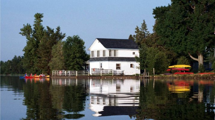 A picture of the Camp Merrywood boathouse on abeautiful day