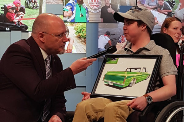 A host interviews an Easter Seals kid