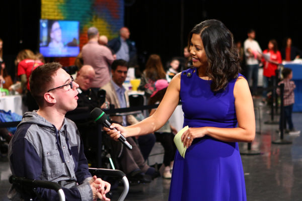 A host Interviews Easter Seals kid Casey